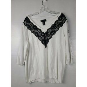 Lane Bryant White Black Lace Top Plus Size 18-20